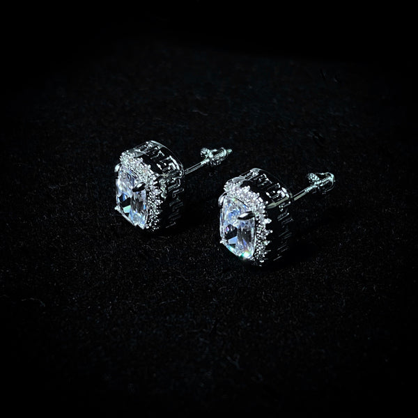 Iced Clear Square Stud Earrings - Pair