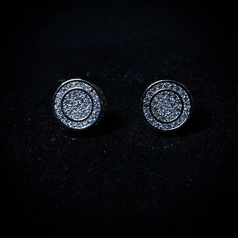 Iced Circle Stud Earrings - Pair
