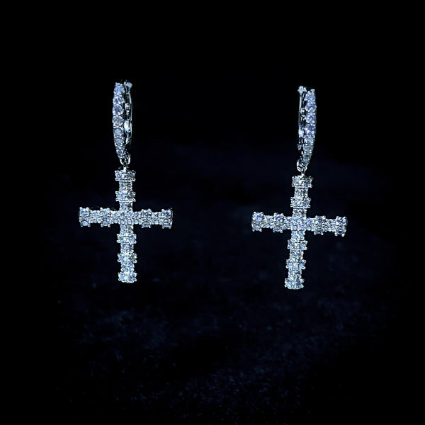 Iced Minimalist Cross Earrings - Pair