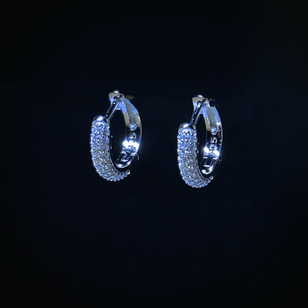 Iced Minimalist Hoop Earrings - Pair