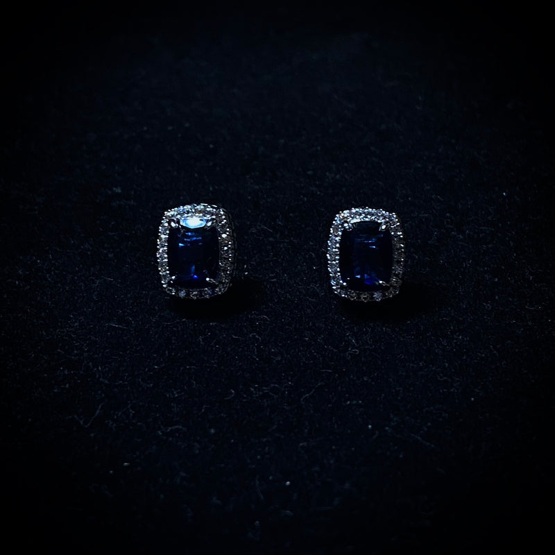 Iced Blue Square Stud Earrings - Pair