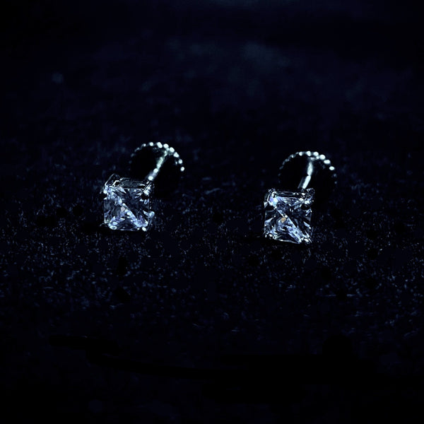 4mm Square Cut Stud Earrings - Pair
