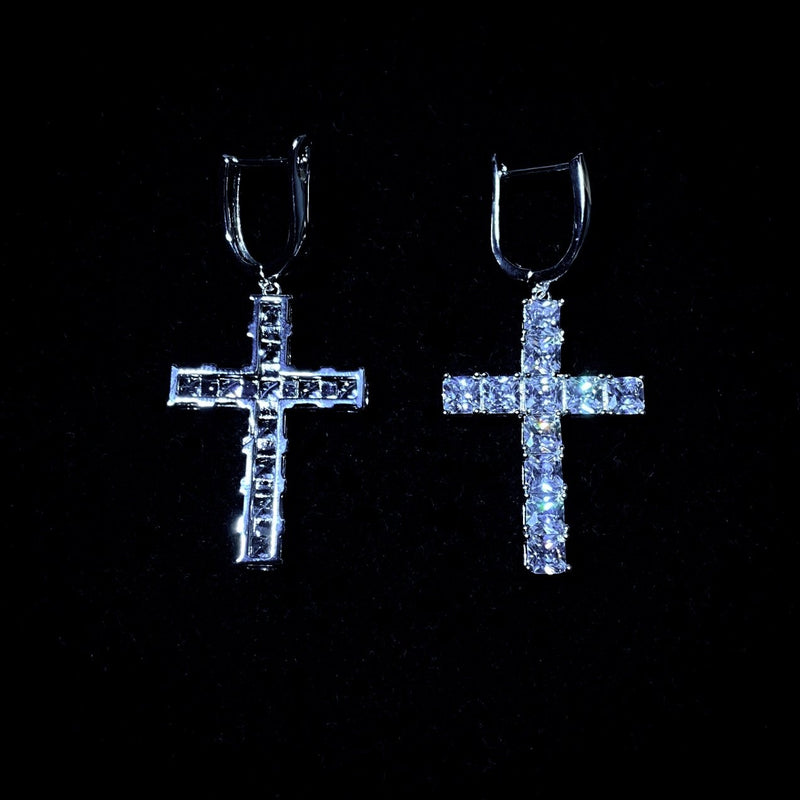 Diamond Cross Earrings - Pair