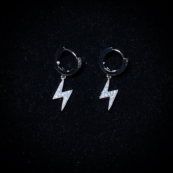 Iced Lightning Bolt Earrings - Pair