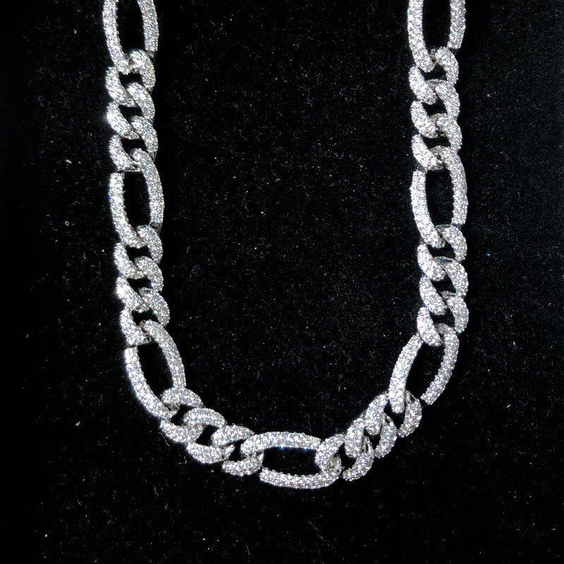10mm Iced Figaro Chain