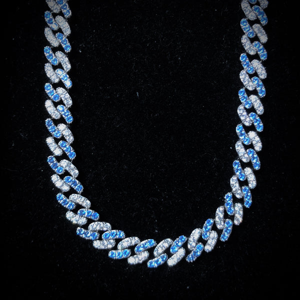 2-Tone 8mm Blue Diamond Cuban Chain