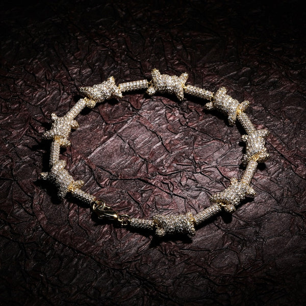 10mm Iced Barbed Wire Bracelet
