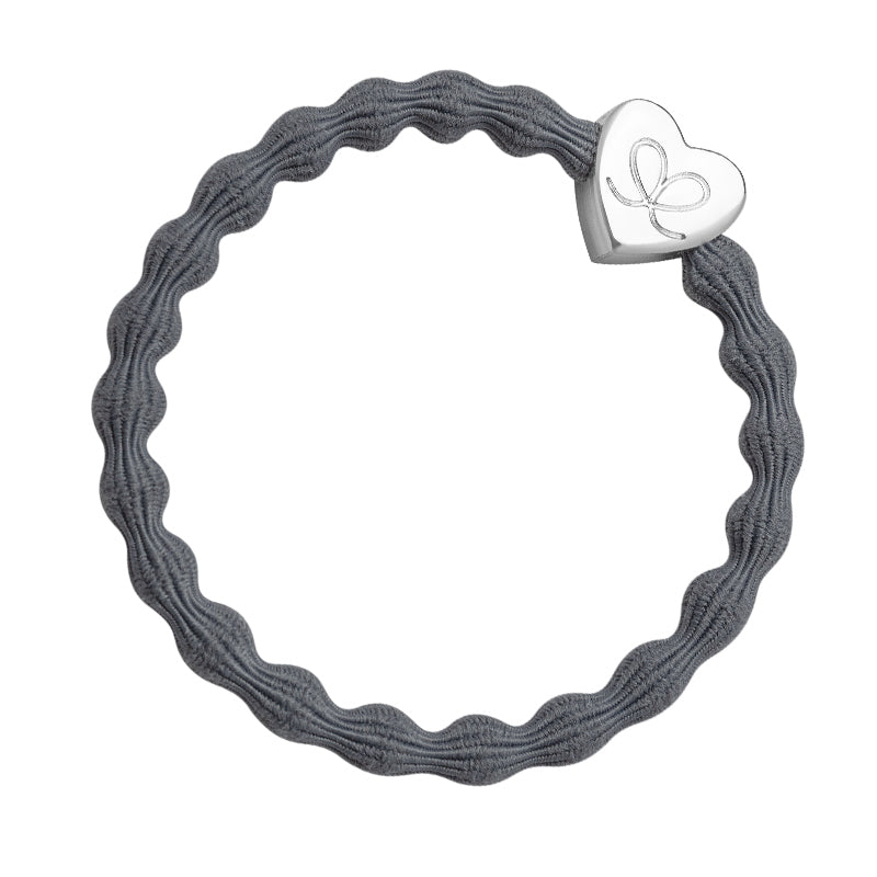 Silver Heart Elasticated Bubble Band - Grey