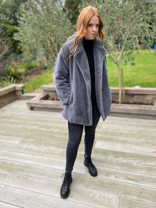 Faux Fur Coat in Grey - Short (REDUCED FURTHER-LAST FEW)!