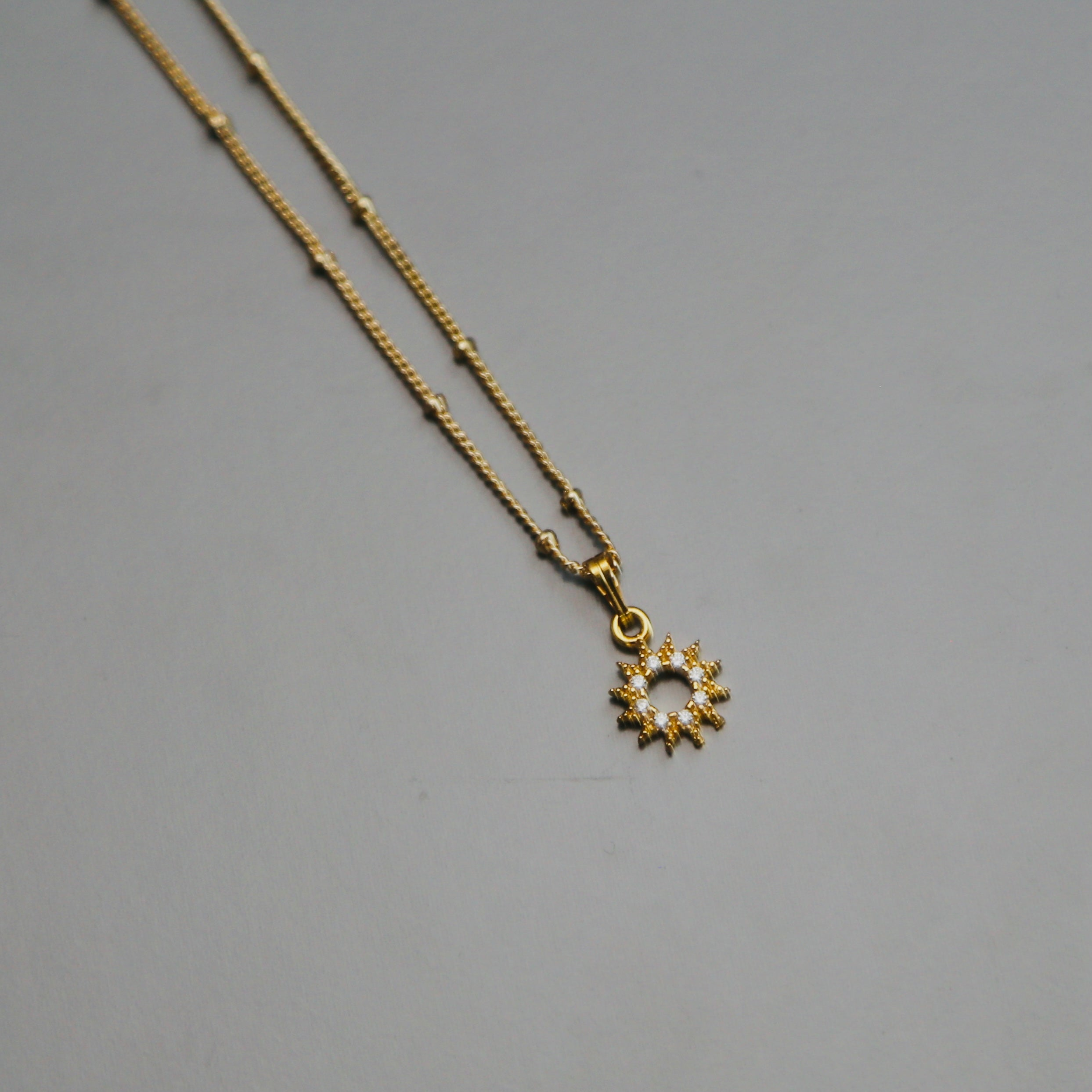 Small CZ Sunburst Necklace in Gold