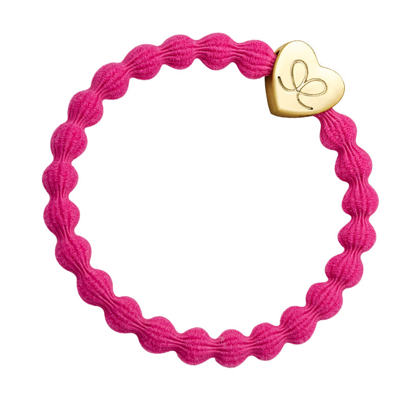 Gold Heart Elasticated Bubble Band - Fuchsia