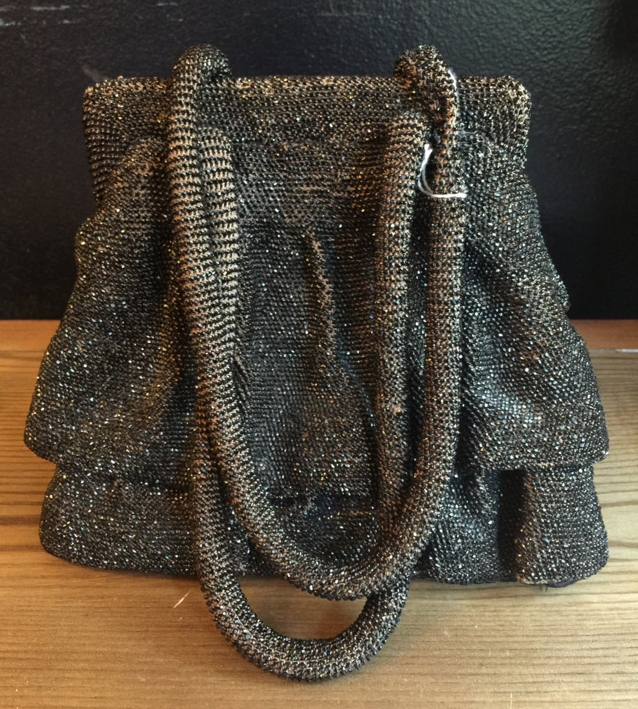 1940s SEED BEAD structured monogrammed interior wartime WWII box purse evening bag vintage 40s
