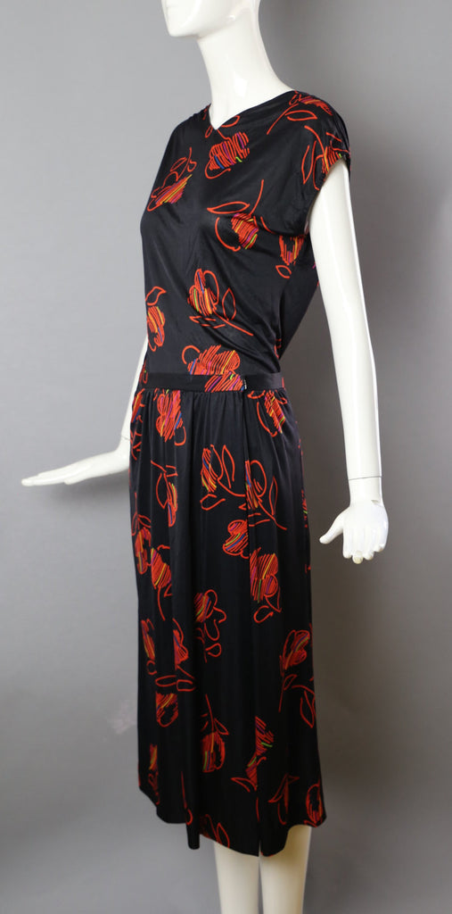 70s HALSTON V  2-piece silk jersey skirt and top outfit floral print disco Studio 54 12 large