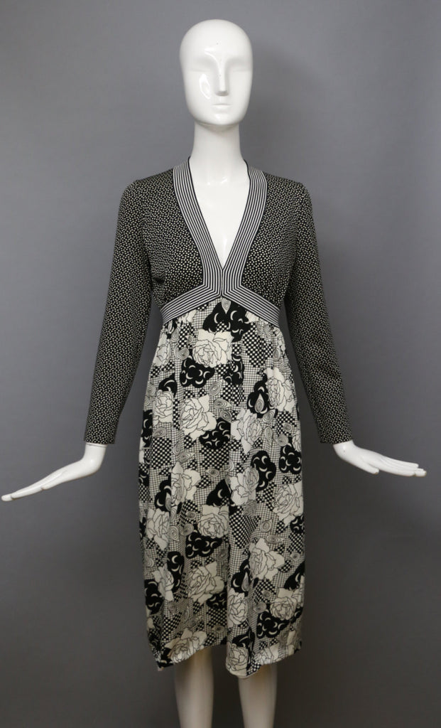 60s GOLDWORM mod op art floral crescent moon print b&w poly knit vintage dress 1960s m-l