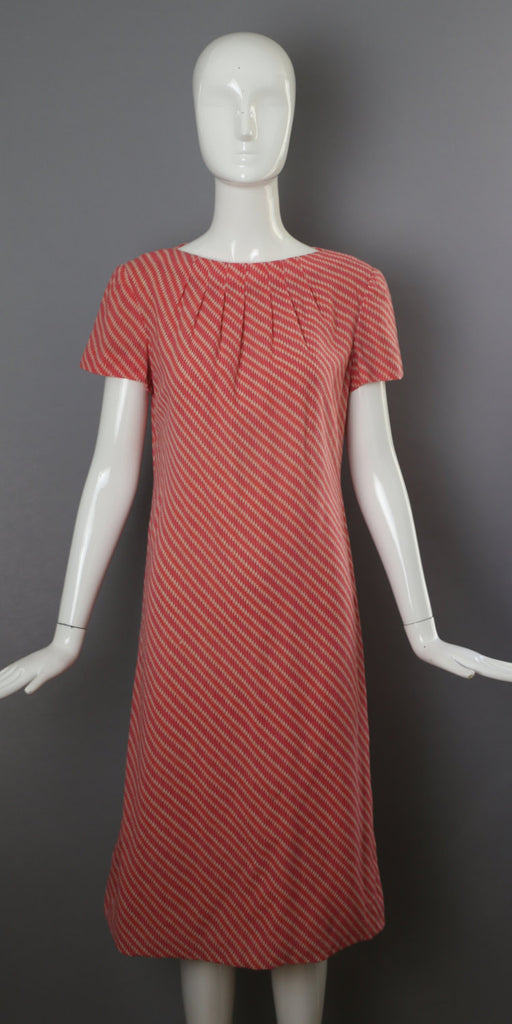 70s PAULINE TRIGERE pink stripe woven tailored sheath DRESS vintage 1970s 8