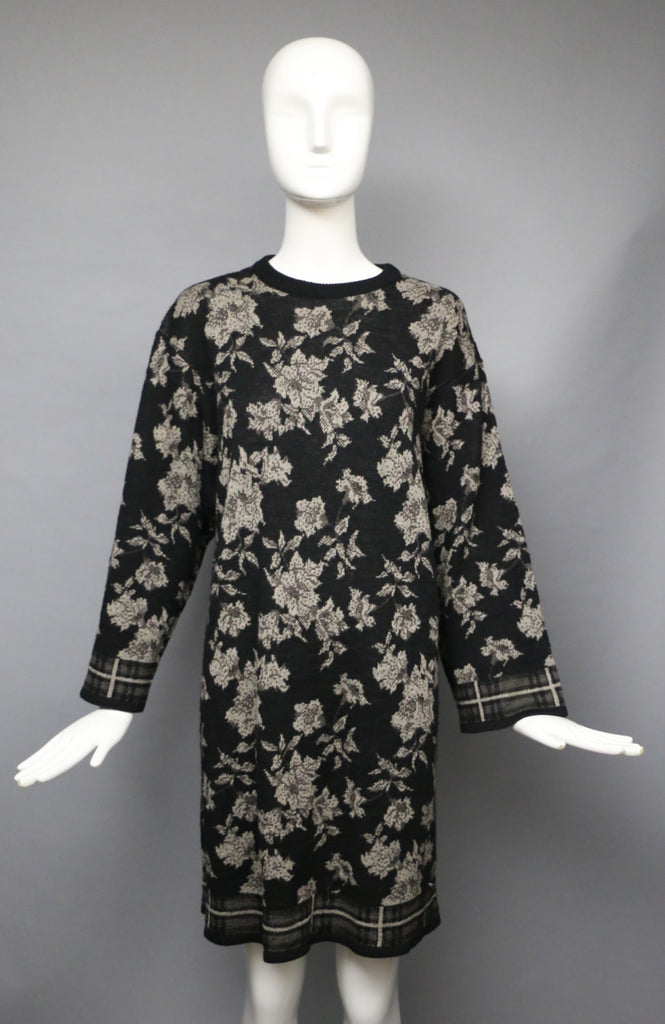 80s 90s KENZO graphic floral oversized knit sweater DRESS tunic gray black small medium vintage 1980s