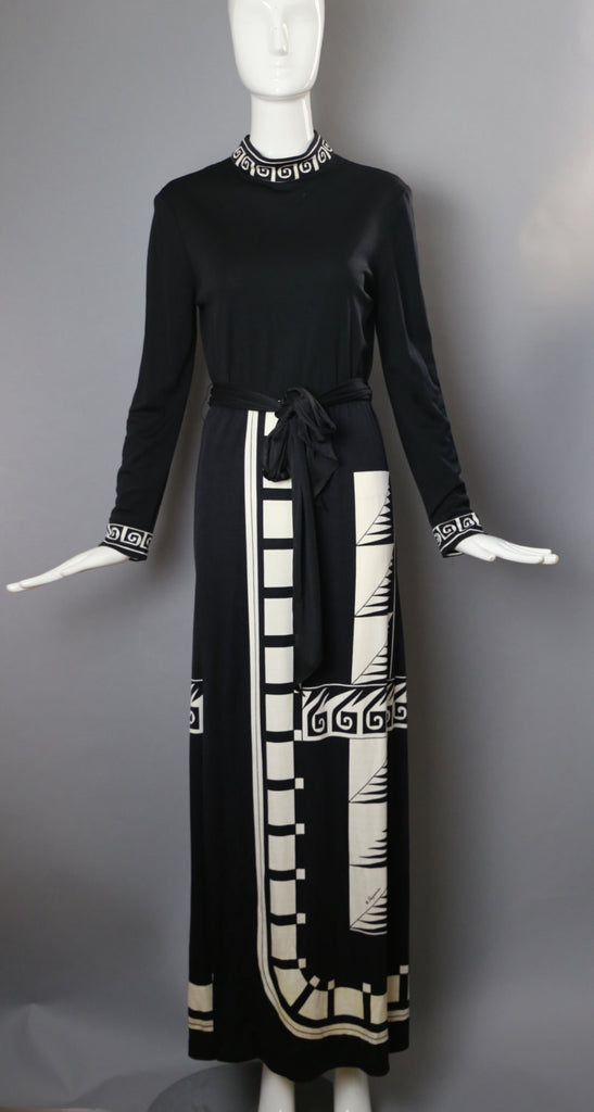 70s PAGANNE black & white op art print poly jersey maxi gown DRESS signed vintage 1970s