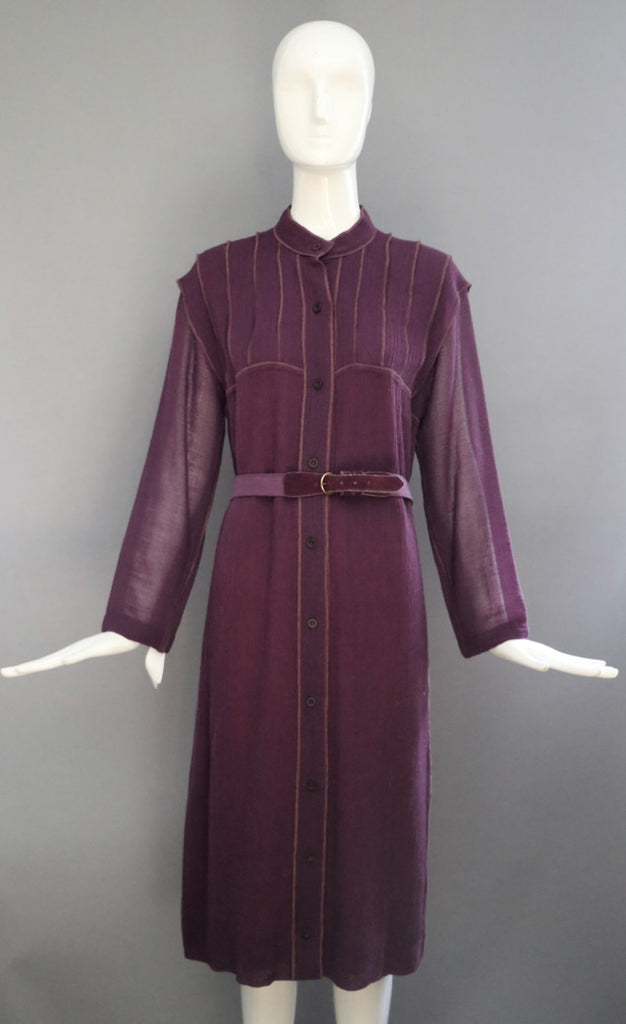70s GEOFFREY BEENE crinkle wool crepe plum belted elegant ladylike shift DRESS vintage 1970s 6-8