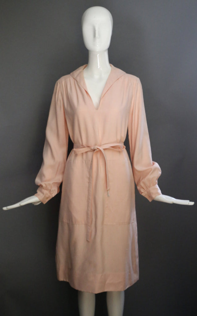 60s GEOFFREY BEENE pale pink silk minimal deep pocket feminine shirt dress self belt vintage 1960s designer
