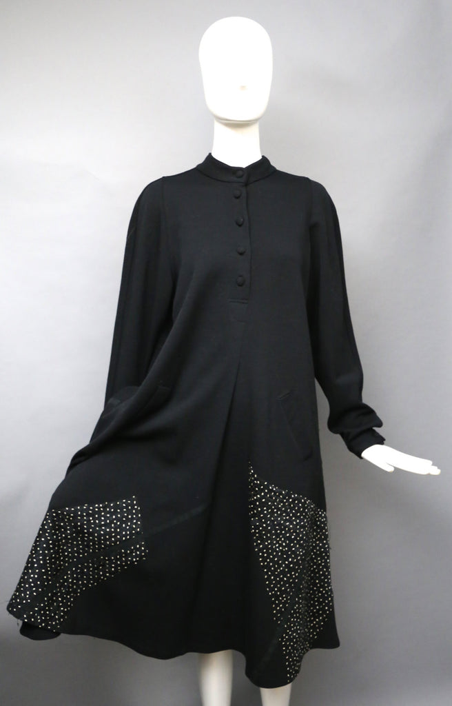 80s Koos Van Den Akker Black Wool Applique Tent Dress M