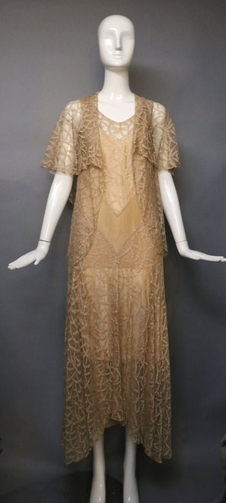 20s CHAMPAGNE LACE art deco silk chiffon chevron gatsby era bridal gown party DRESS & jacket blouse top set vintage 1920s 1930s