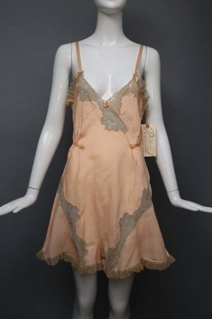 30s STEP IN pink silk rayon lace trim pin up teddy lingerie boudoir vintage 1930s 1920s