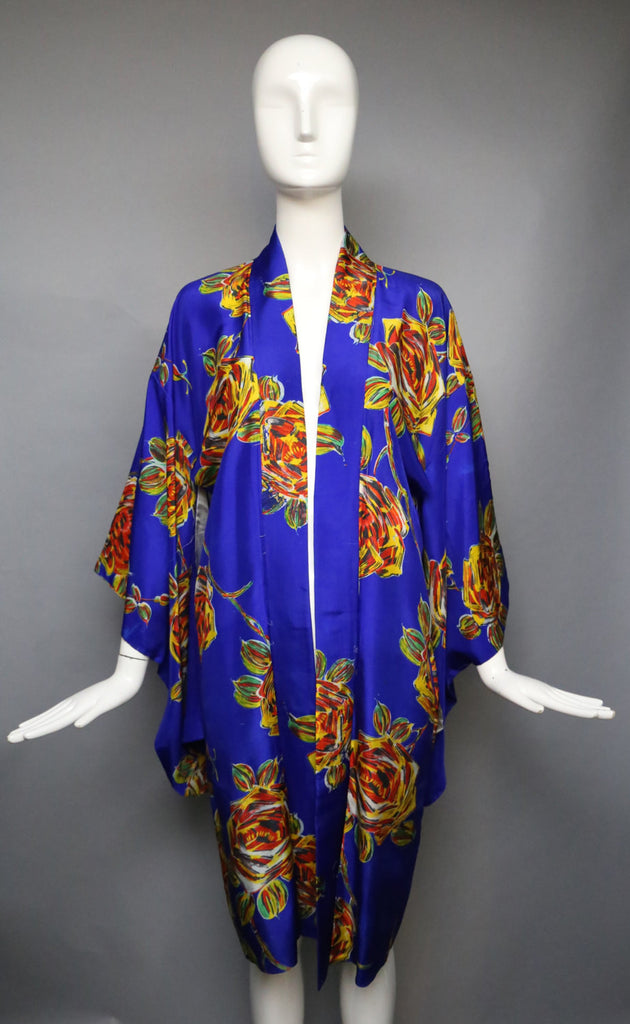 30s DECO FLORAL bold and artistic deep blue silk Japanese vintage KIMONO robe duster vintage 1930s