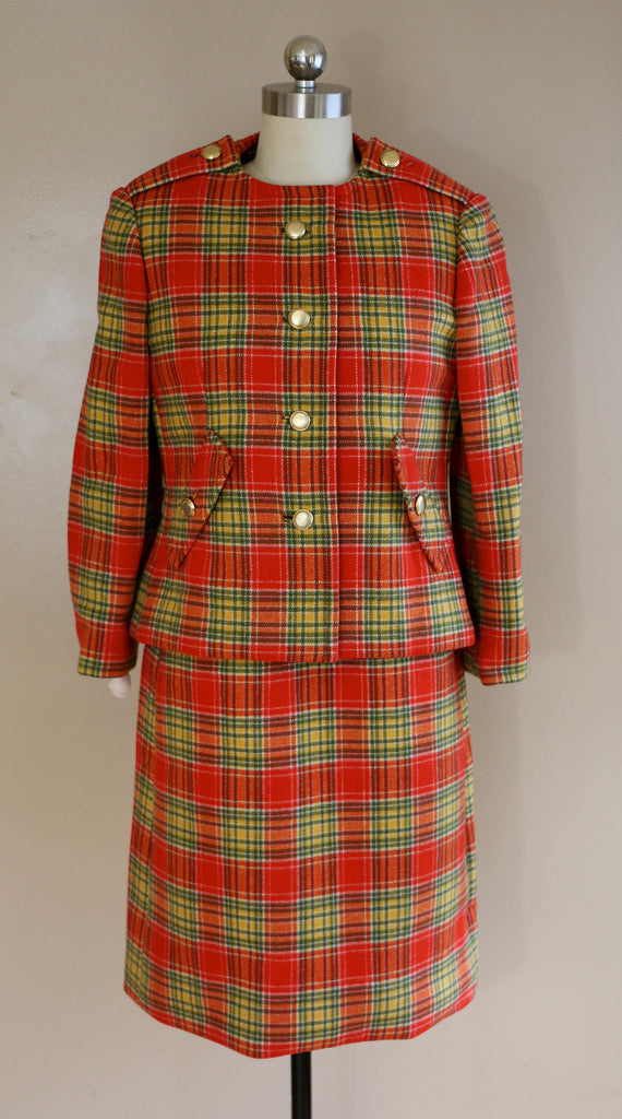 60s GEOFFREY BEENE 1967 red plaid mod wool jumper dress and jacket SUIT outfit vintage 1960s designer 4-6