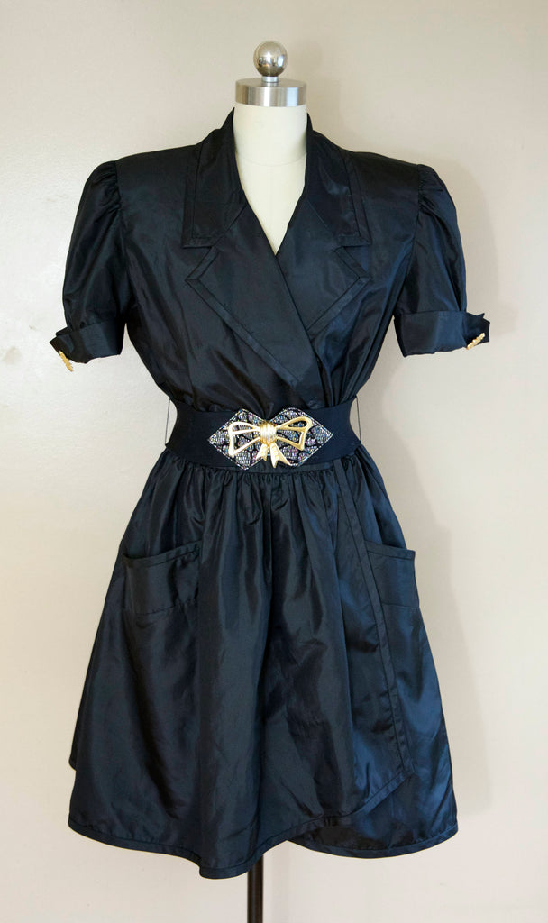 80s BILL BLASS evening black taffeta metal belted SHIRT dress w/ full skirt and pockets vintage 1980s 12