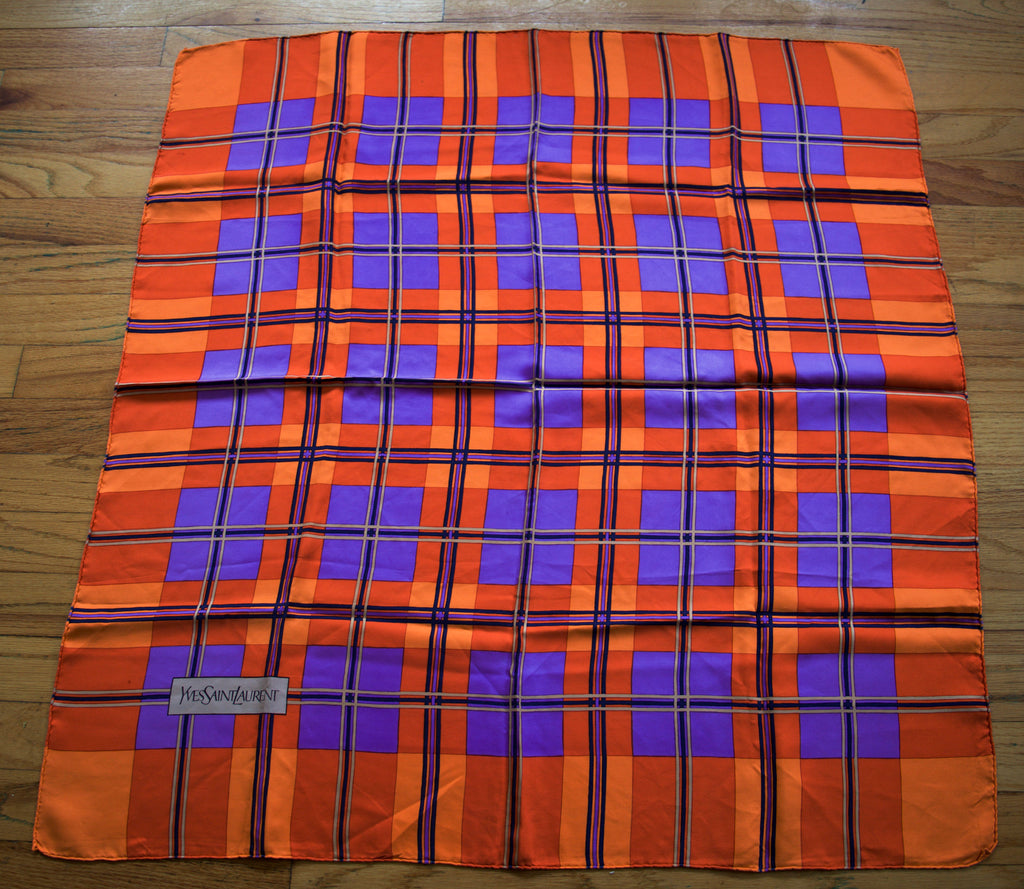 70s YSL Yves Saint Laurent orange purple plaid silk print designer vintage SCARF logo 34 x 32