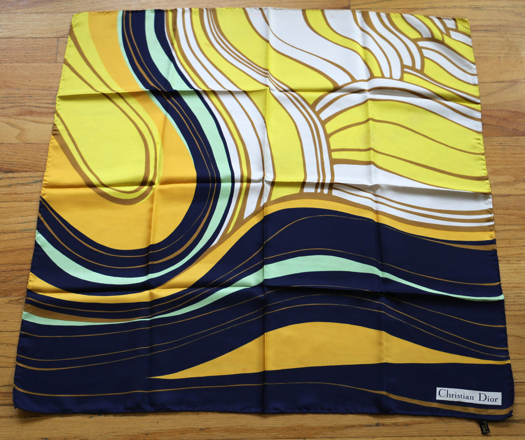 60s CHRISTIAN DIOR psychedelic swirl print silk SCARF vintage 1960s 30.5 X 30