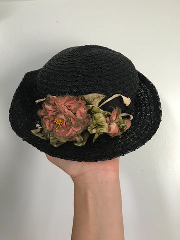 20s CLOCHE HAT in black straw with millinery flowers early 1920s flapper girl vintage Gage