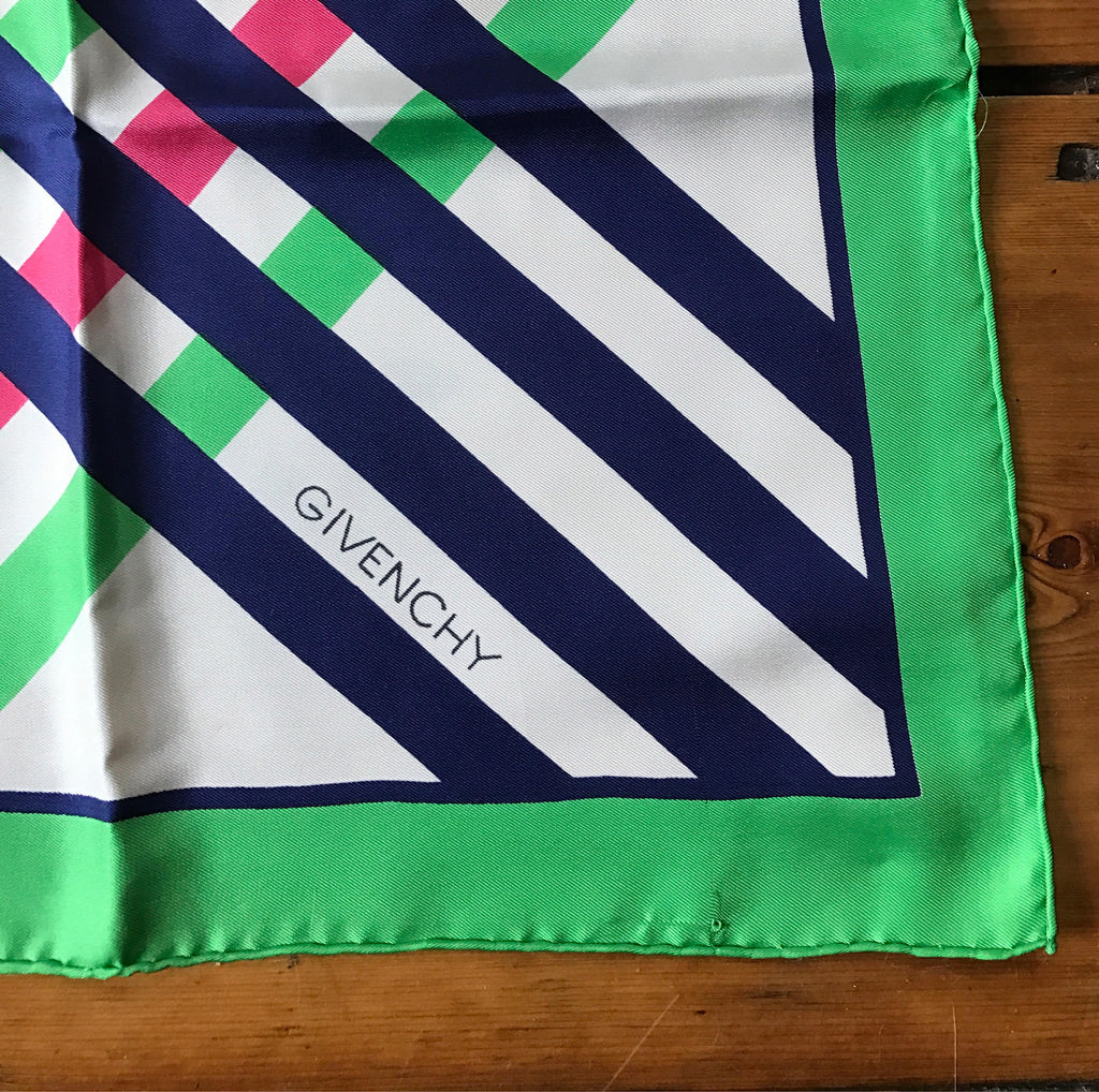 60s GIVENCHY bold op art print stripes & logo green silk SCARF designer 1960s 31 x 30