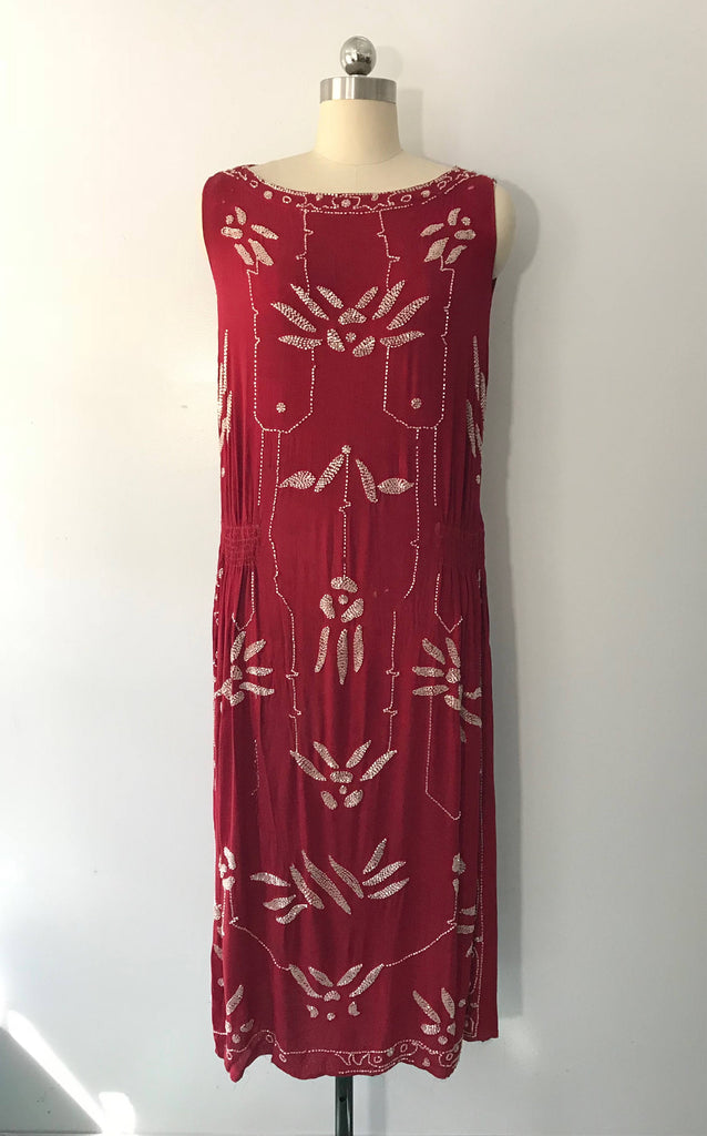 20s CINNABAR FLAPPER art deco beaded rayon gatsby era antique DRESS 1920s vintage