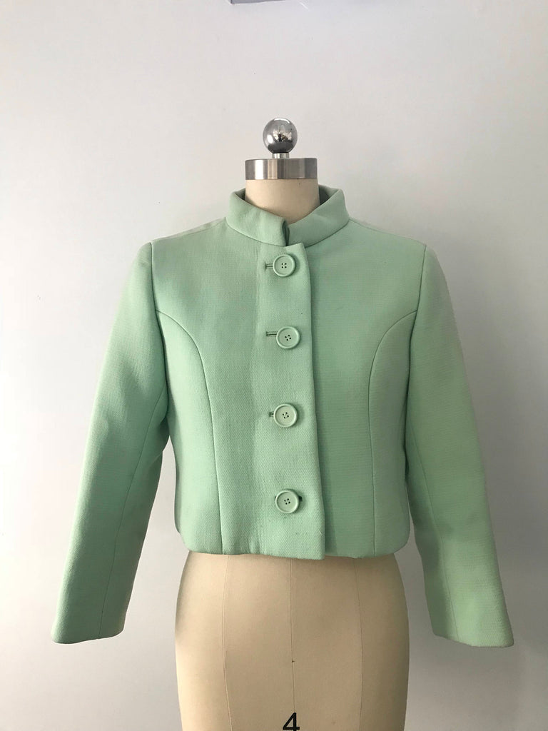 60s NORMAN NORELL icy blue wool mod cropped JACKET blazer vintage 1960s small