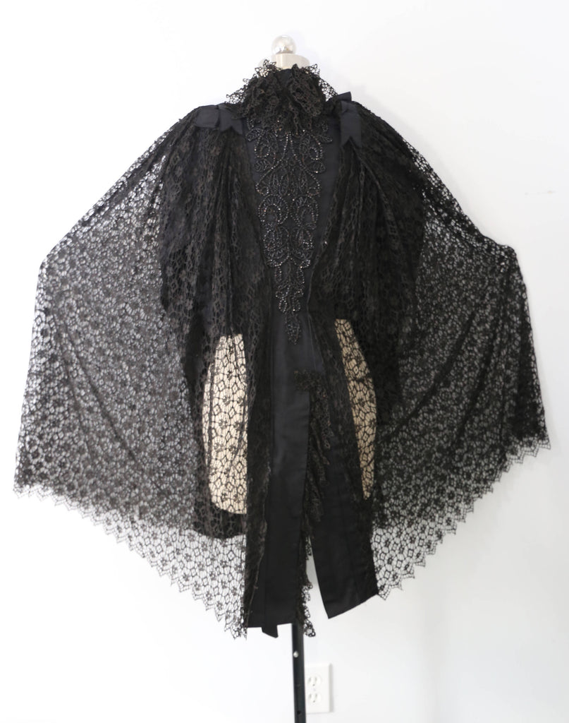 1890s VICTORIAN CAPE goth lace overlay on silk bustle JACKET bodice 1800s antique vintage