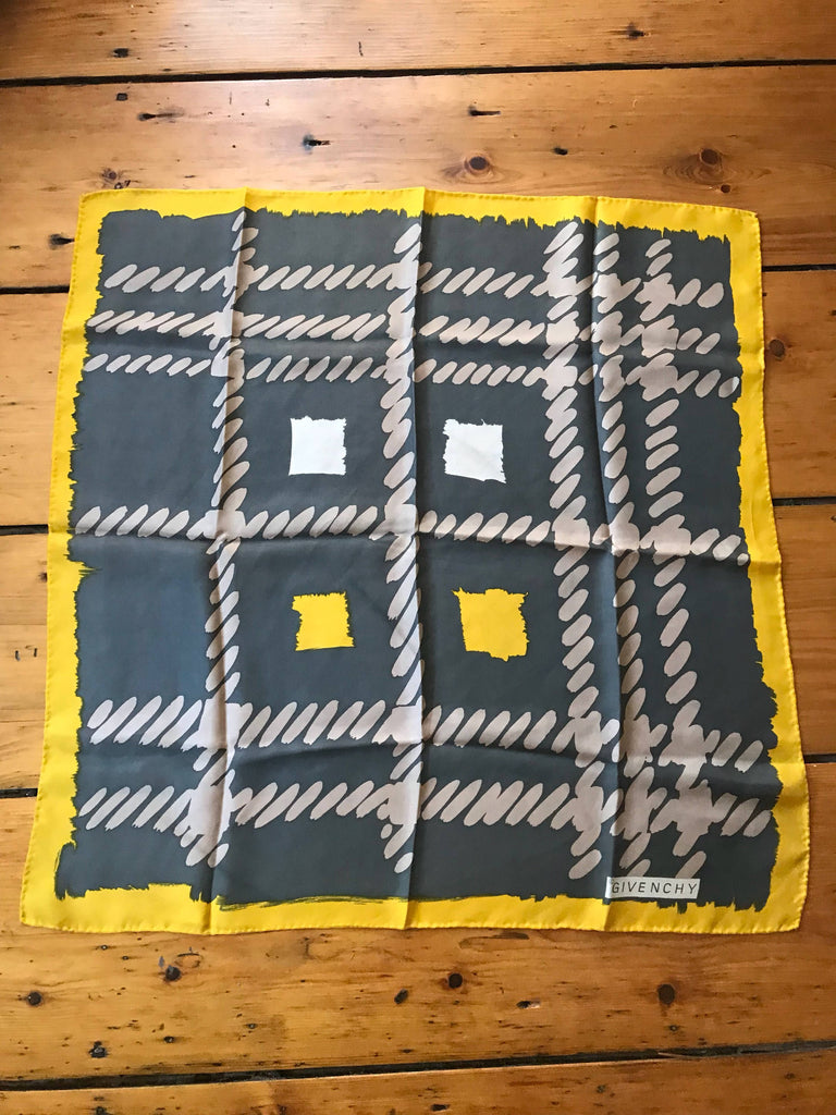 70s GIVENCHY gray yellow silk print designer vintage SCARF 1970s