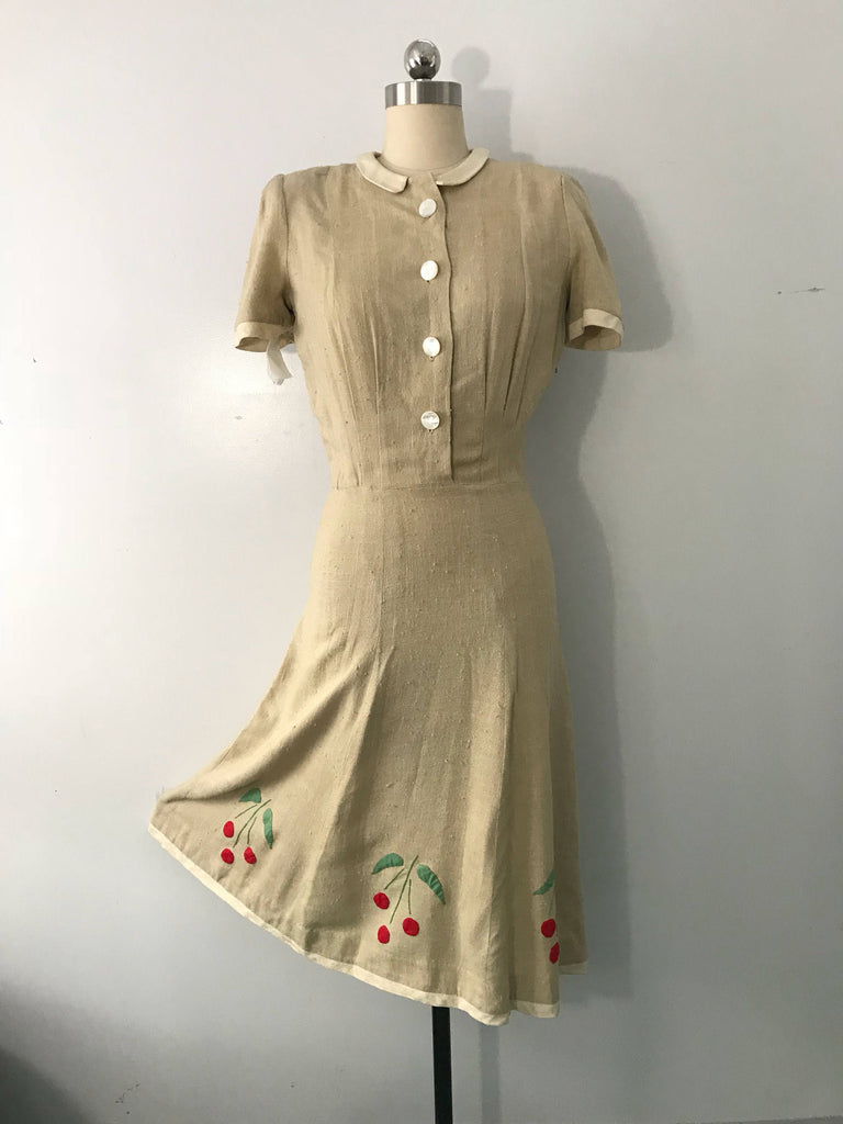 40s PHIL MACDONALD cherry applique raw linen day DRESS museum tag 1940s small vintage