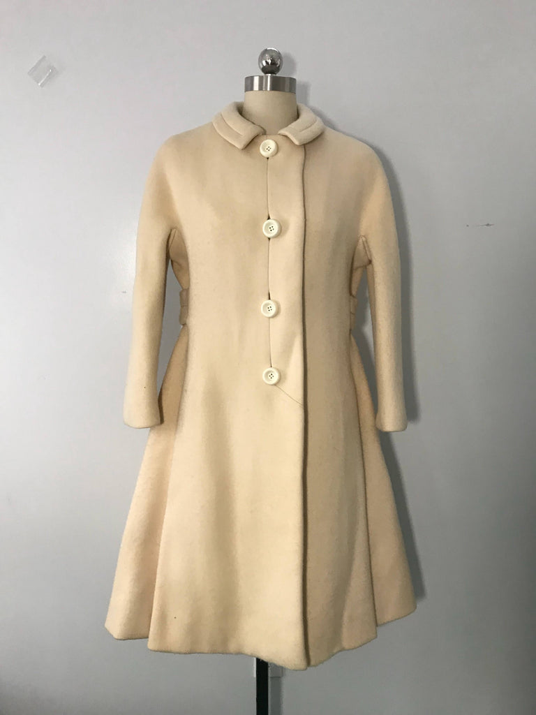 60s GALANOS unlabeled cream wool intricately seamed sash back winter COAT vintage 1960s