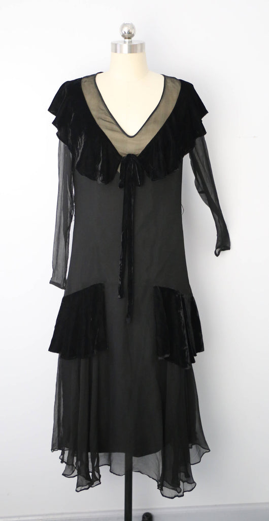 20s FLAPPER black silk chiffon draped velvet collar antique DRESS vintage 1920s