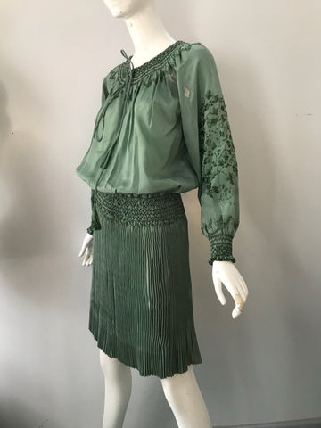 20s HUNGARIAN silk embroidered sage green peasant DRESS w/ fortune pleated skirt 1920s antique vintage tlc