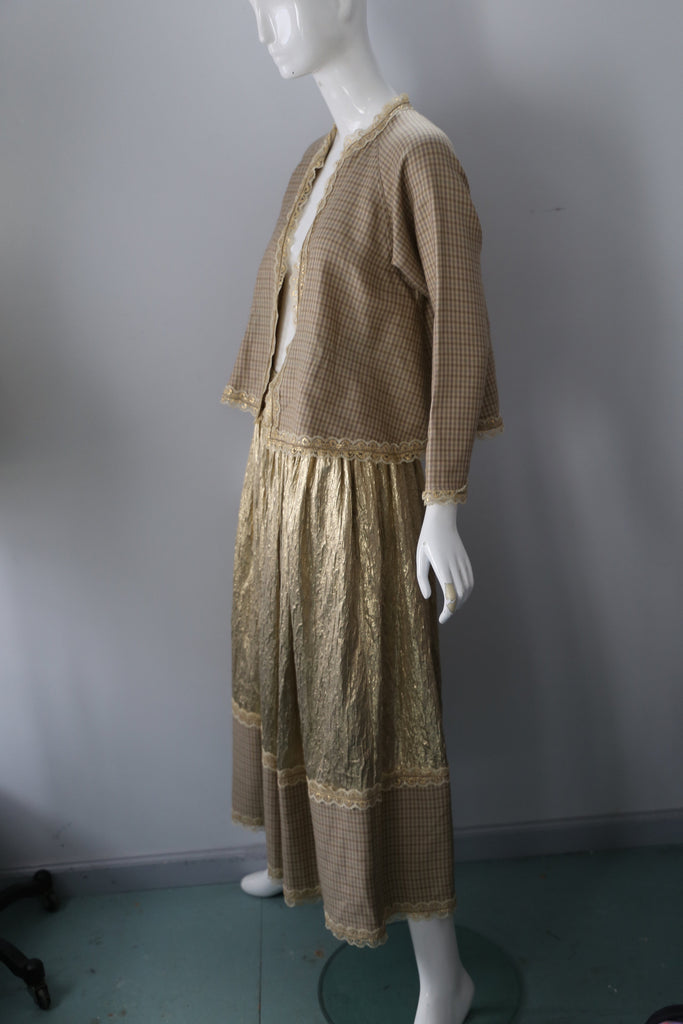 80s GEOFFREY BEENE gingham and gold metallic jacket skirt set OUTFIT 8 1980s vintage