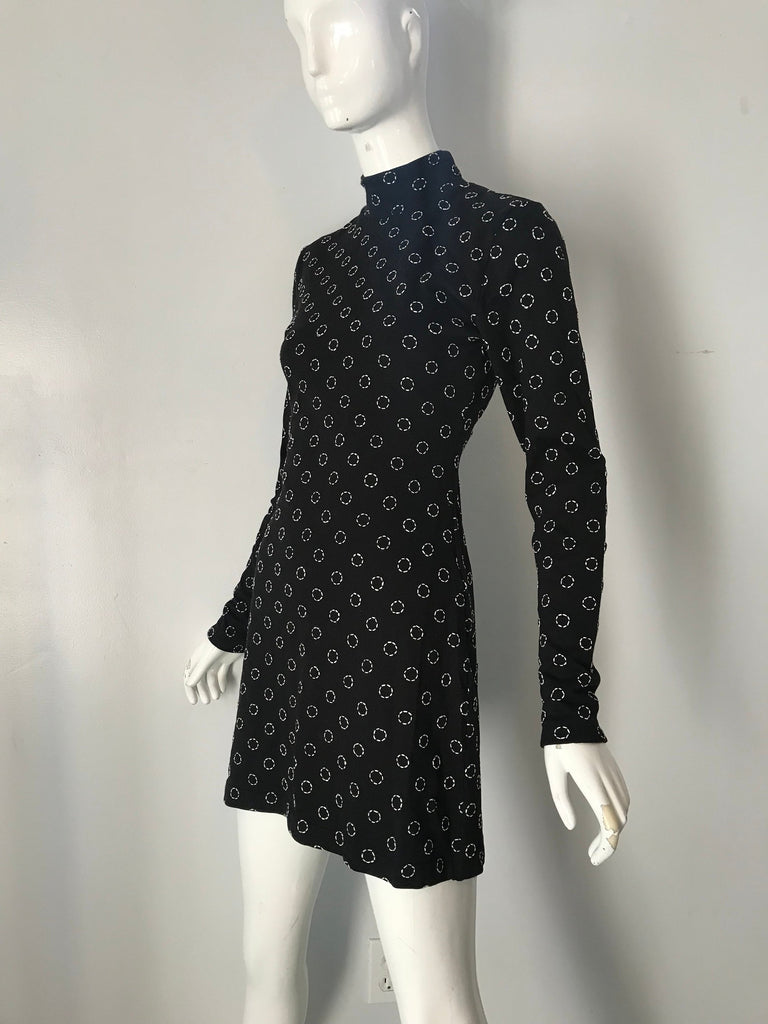 90's VIVIENNE TAM black Circle Embroidered cotton Knit Mini DRESS 1990s vintage