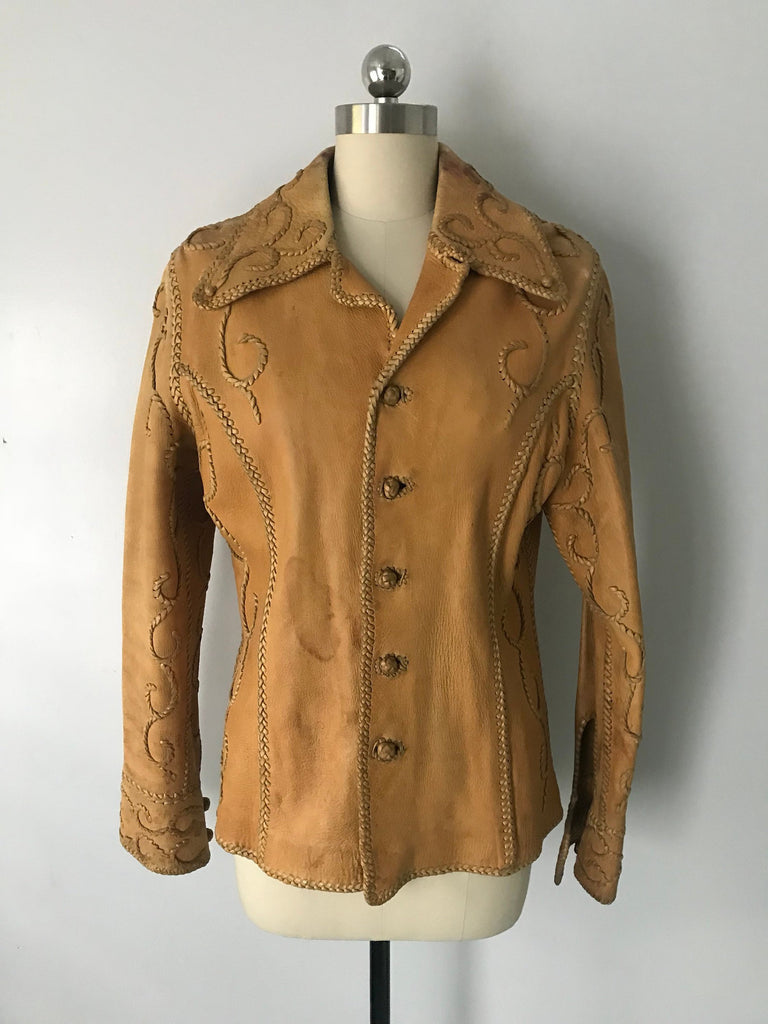 70s NORTH BEACH Leather whip stitched tan buckskin JACKET 1970s vintage as found