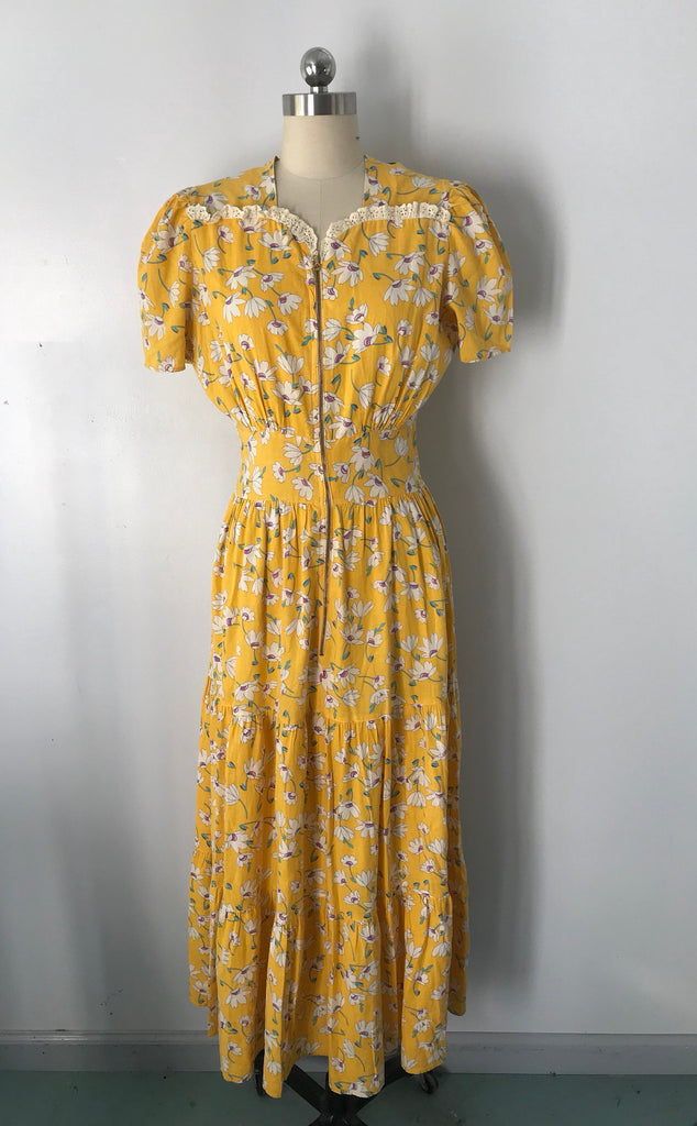 30s FLORAL PRINT yellow cotton zipper front tiered summer GOWN dress vintage late 1930s