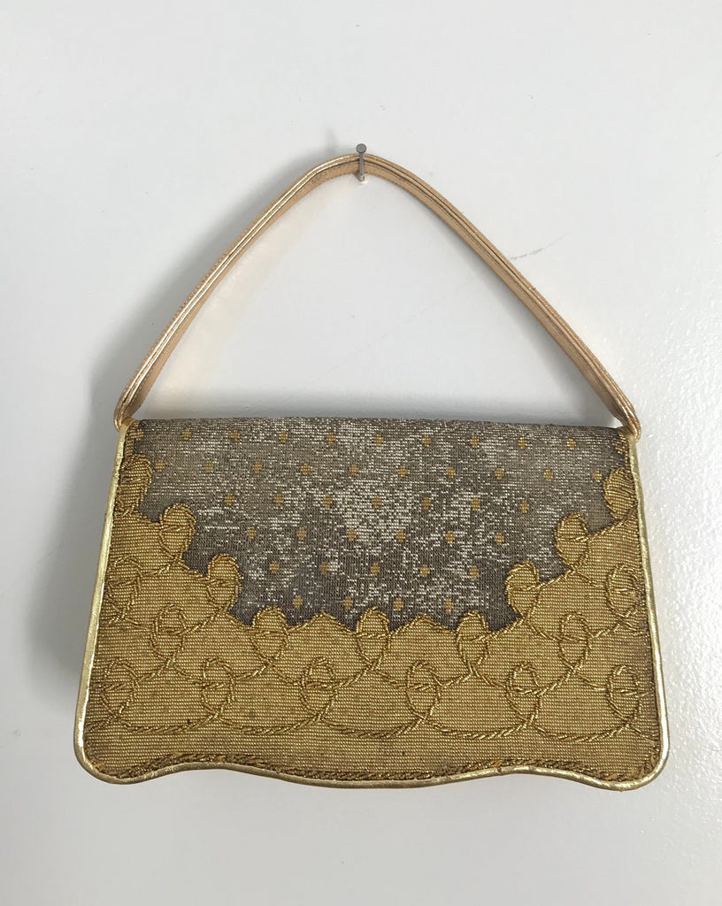 50s NETTIE ROSENSTEIN micro beaded gold & silver leather trim cocktail evening bag PURSE vintage 1950s