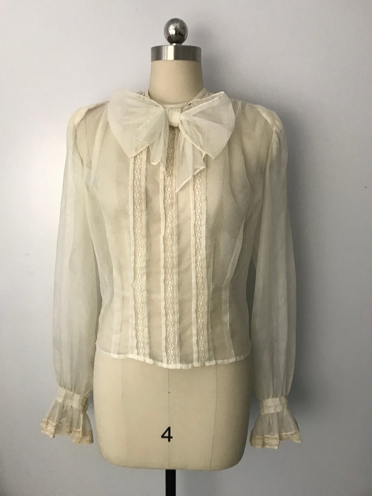 40s SECRETARY off white nylon BOW front ethereal sheer pin up blouse top vintage 1940s