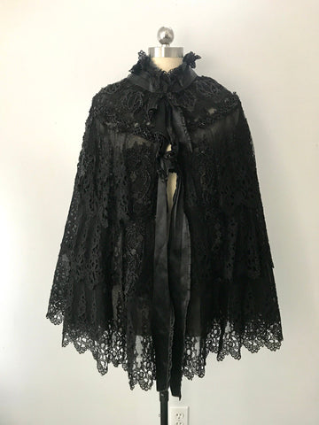 1890s VICTORIAN jet beaded & heavy lace opulent evening mourning cape 1800s goth antique vintage