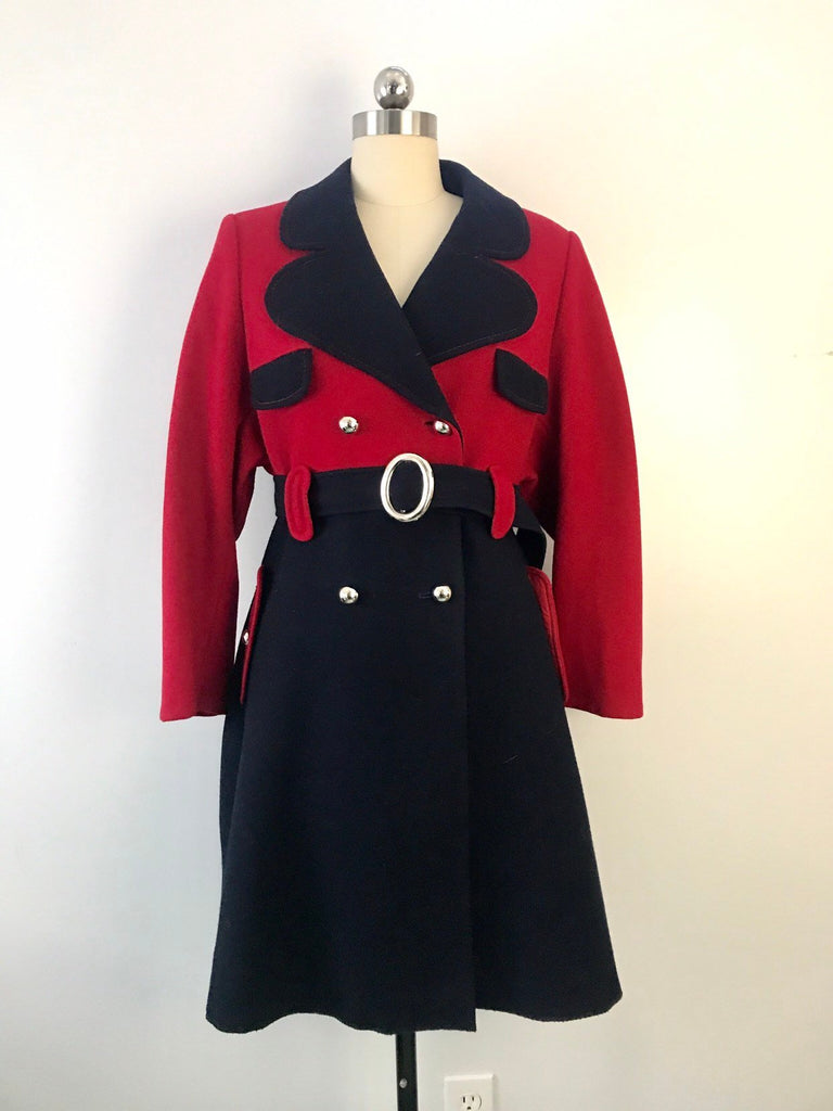 60s YOUNG FLAIR 2 tone navy red MOD belted wool vintage 1960s coat jacket large