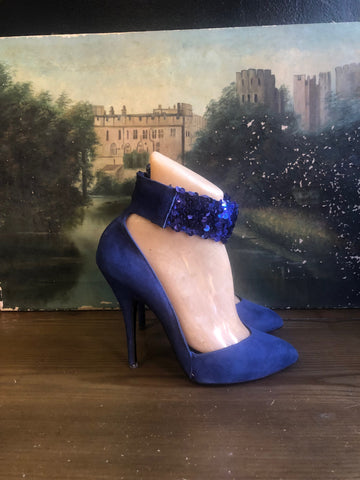 1980s WILD PAIR Blue Suede and Sequin Pumps SZ 8.5